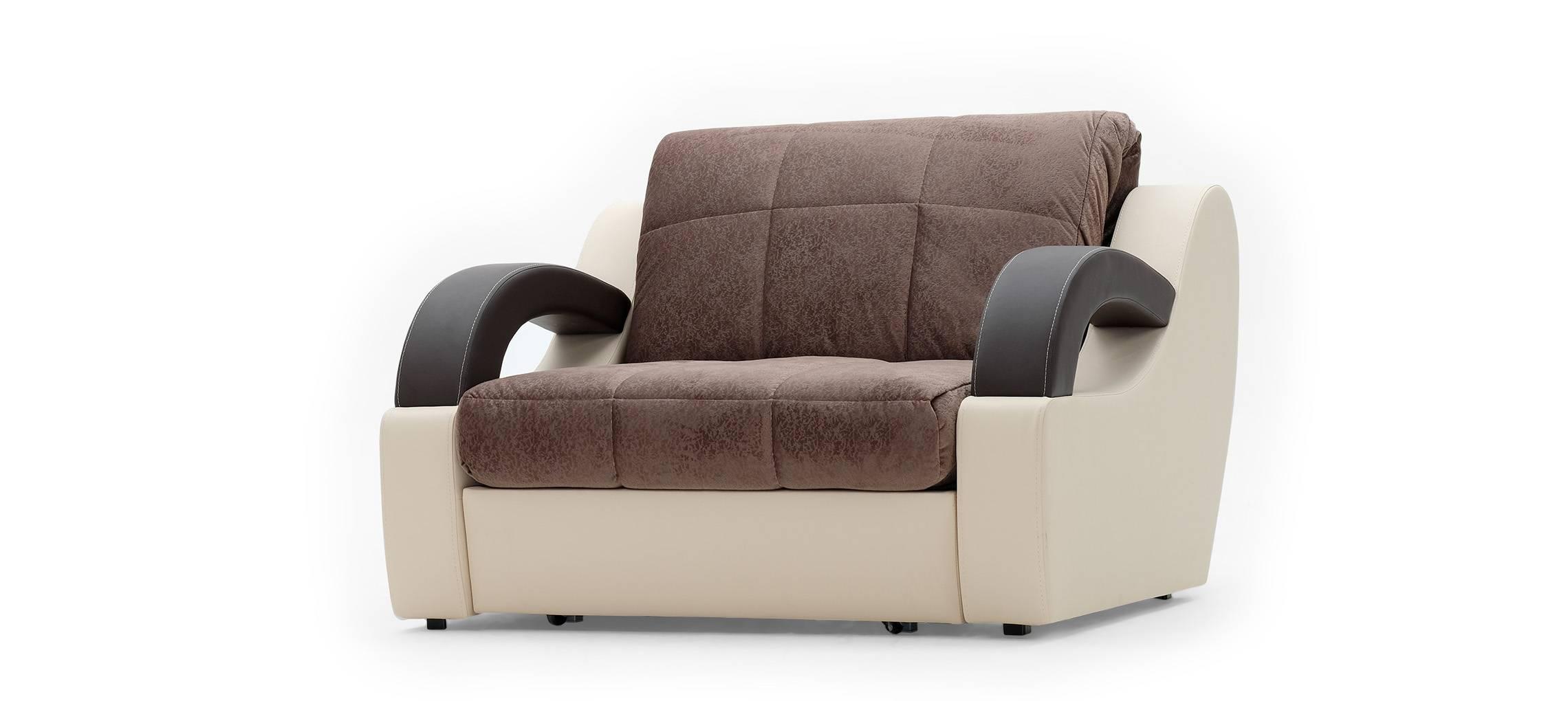 МАДРИД Кресло-кровать Olivia коричневый кожзам бежевый